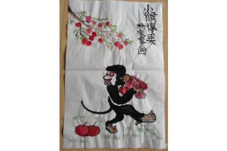小猴得果儿童水墨画猴子作品赏析