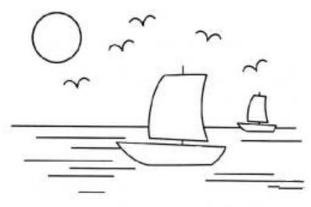 帆船与大海简笔画图片