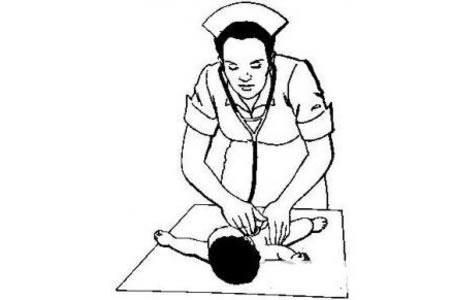护士给婴儿按摩简笔画