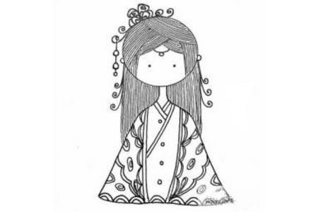漂亮的小公主简笔画