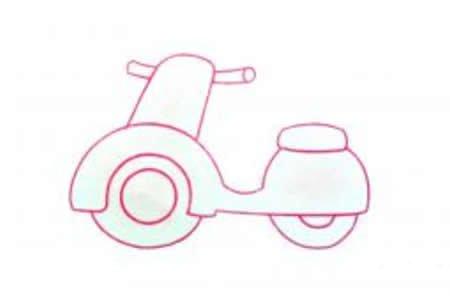 两张电动摩托车简笔画图片