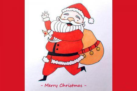 喜庆圣诞老人简笔画