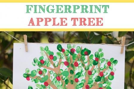 手指画苹果树