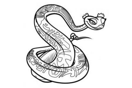 动漫人物简笔画 功夫熊猫灵蛇简笔画图片