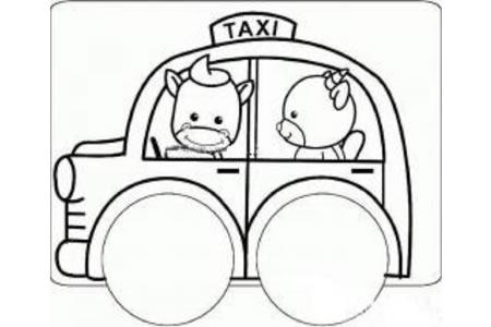 卡通出租车简笔画图片