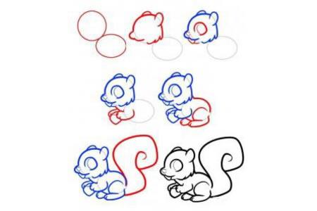 吃松果的小松鼠简笔画教程