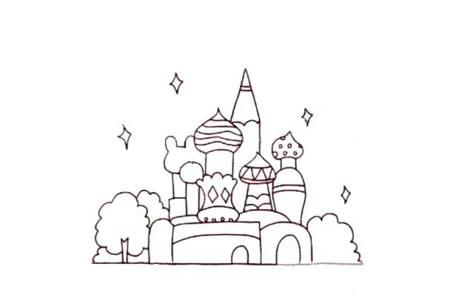Q版城堡简笔画画法