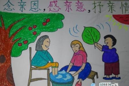 重阳节尊老敬老的绘画作品之妈妈奶奶和我