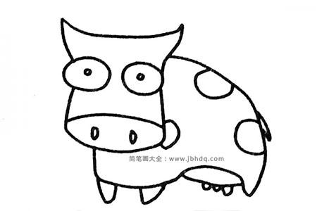 六张简单可爱的奶牛简笔画图片