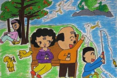 和爷爷奶奶一起去郊游重阳节画分享