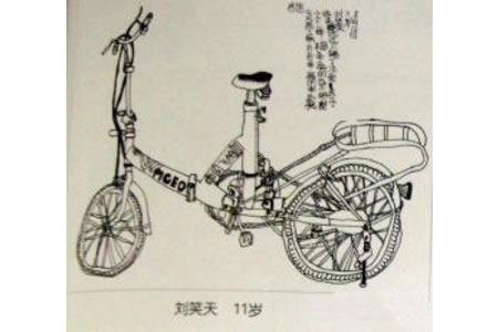 儿童写生自行车作品组图三张