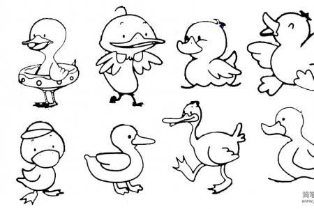 小鸭子简笔画实例及步骤