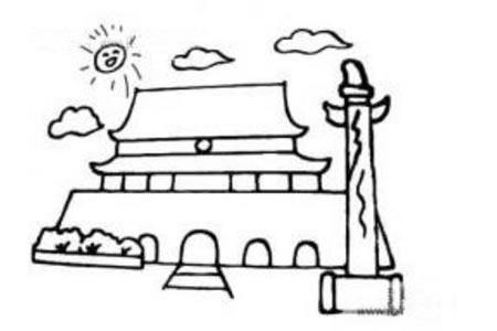 天安门和纪念碑简笔画图片