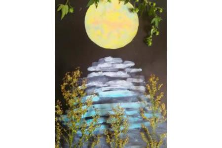 记忆中的月亮,中秋节题材儿童画
