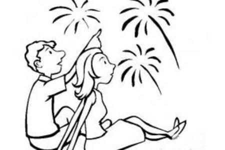 国庆节观赏烟花简笔画图片