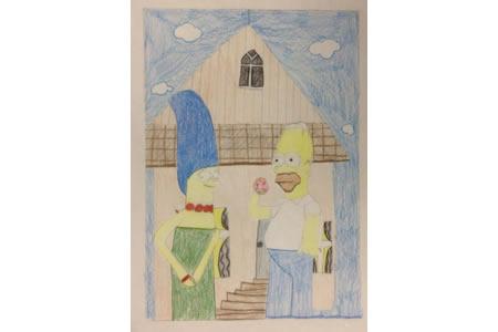 辛普森爸爸和妈妈动漫彩铅画作品分享