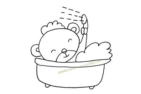 小熊洗澡简笔画图片