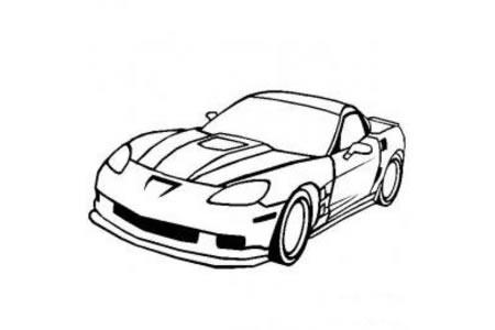 克尔维特ZR1超级跑车简笔画图片
