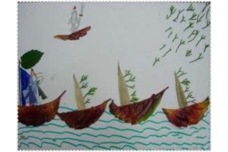 树叶贴画作品:划船
