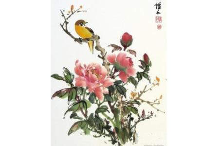 牡丹花和黄鹂鸟写意国画牡丹