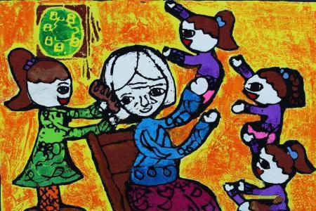 九九重阳节儿童画作品欣赏-我跟奶奶学