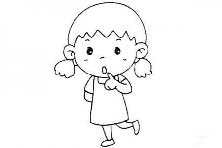 一组乖巧的小女孩简笔画