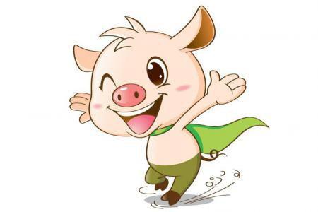 两张可爱的小猪卡通形象