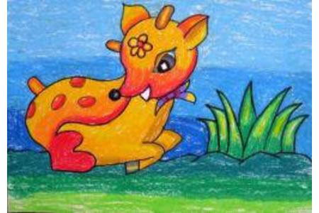 儿童画 漂亮的梅花鹿