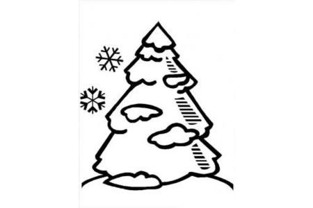 圣诞树简笔画大全 雪地里的圣诞树