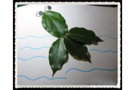 树叶贴画作品:大眼金鱼