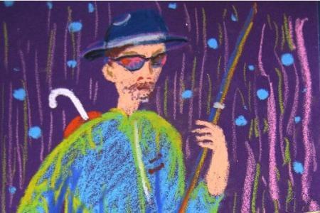 拉二胡的盲人爷爷,有关于重阳节的儿童画作品欣赏