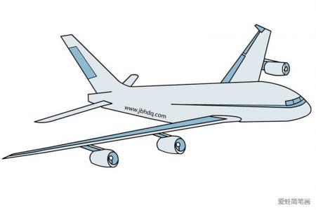 空中飞行的飞机简笔画带颜色
