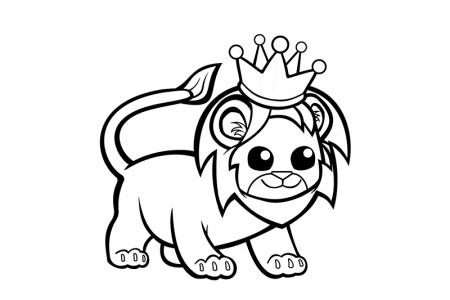 戴着皇冠的可爱狮子简笔画图片