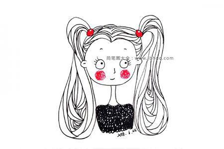 9张可爱小女孩简笔画图片