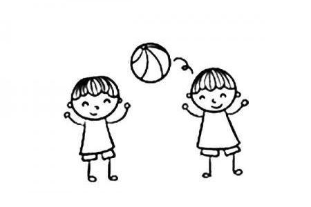 两个小男孩打篮球