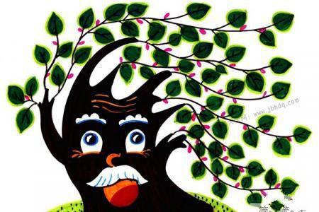 画植物儿童水彩画 大树爷爷
