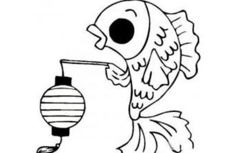 节日用品简笔画 鲤鱼挑灯笼简笔画