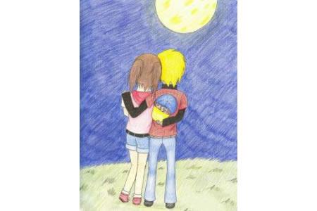 大家一起来赏月中秋节彩铅画作品