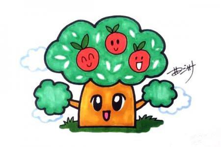 卡通苹果树怎么画