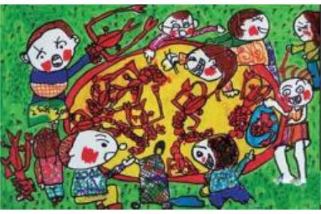 快乐的国庆节儿童画-国庆吃龙虾