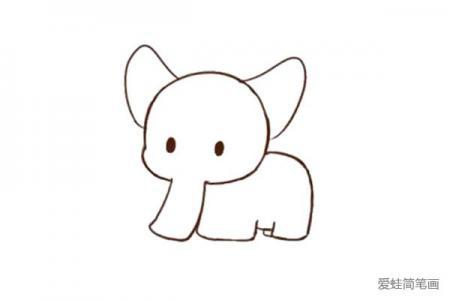 教你画可爱的大象简笔画