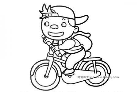 小男孩骑自行车简笔画图片