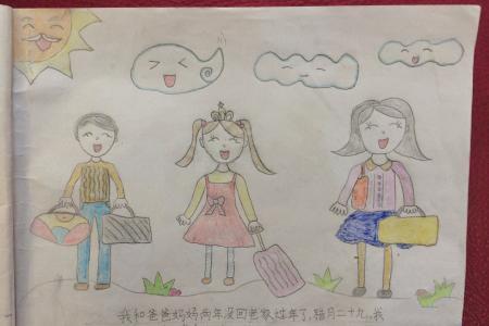 幼儿蜡笔画图片大全-我和爸爸妈妈一起回家