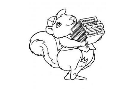 抱着书的小松鼠简笔画图片
