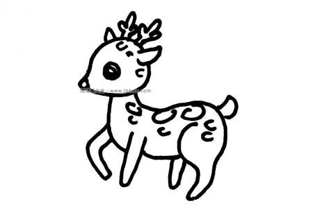 可爱的小梅花鹿简笔画