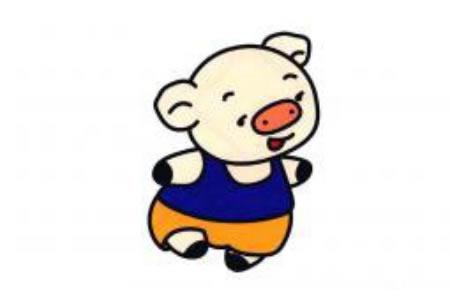 跑步的小猪简笔画图片