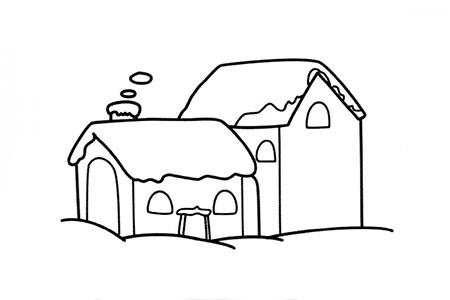 冬天绘画素材 雪地里的房子