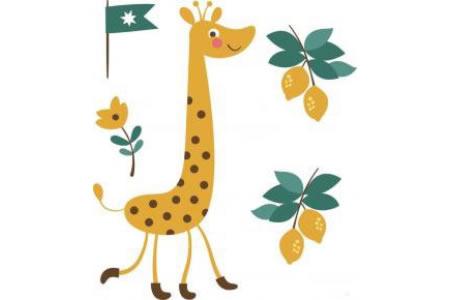 彩色长颈鹿简笔画