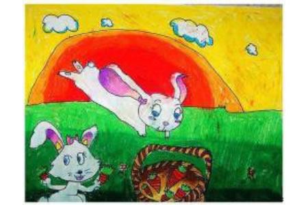 摘胡萝卜的小兔子一年级动物场景画作品分享