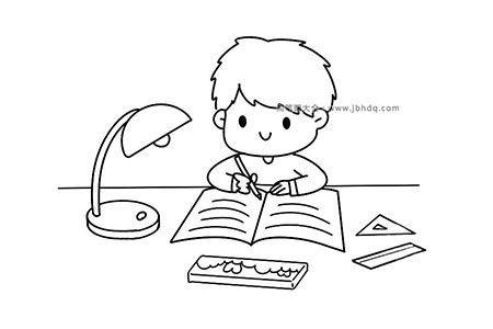 写作业的小男孩
